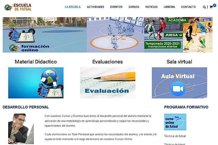Pantalla Inicial Escuela Futsal